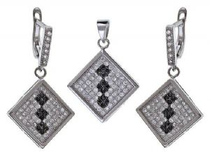 925 Sterling Silver Square White & Black Swarovski Crystal Earrings & Necklace Set